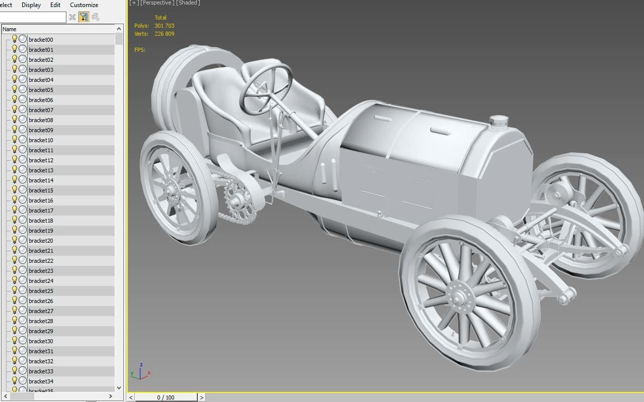 3D mercedes 1908 gp