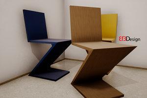 3D zigzag chair gerrit thomas model