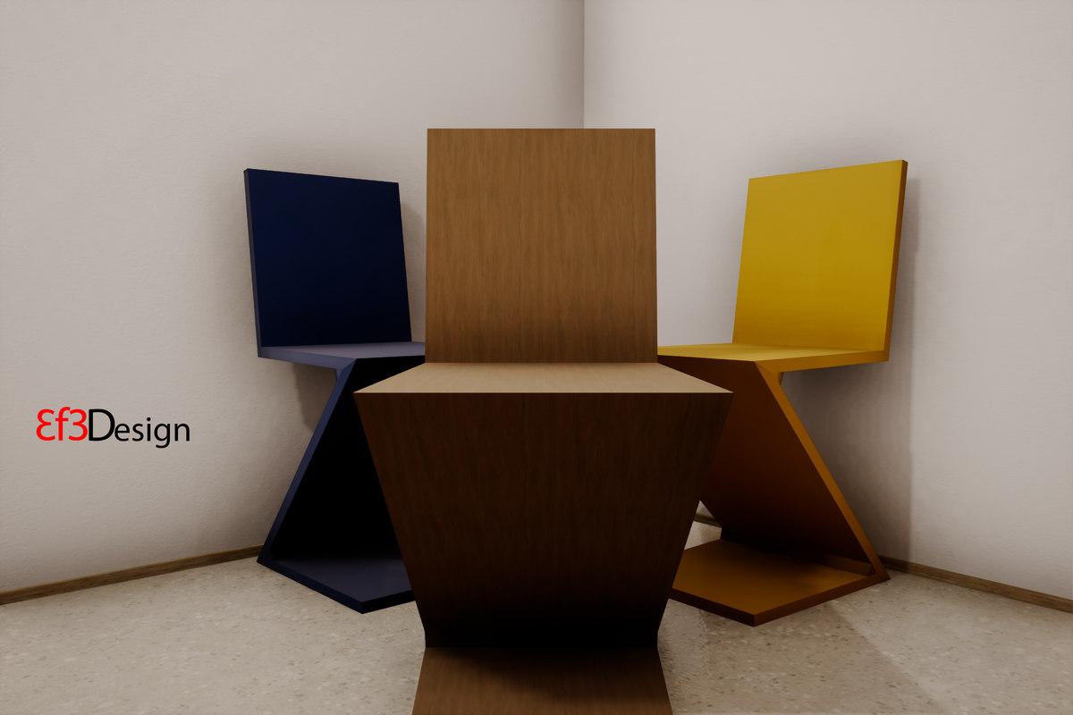... 3D Zigzag Chair Gerrit Thomas Model ...