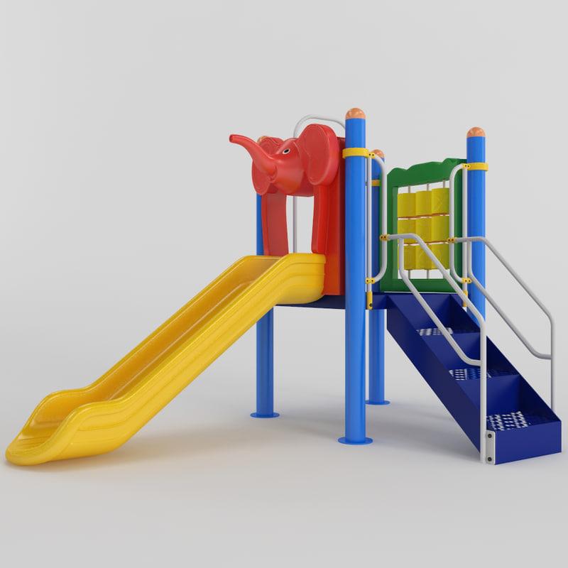 children slide playground 3D