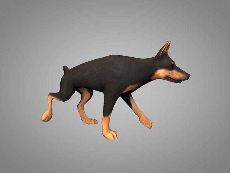 doberman dog 3D model