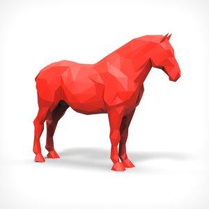 3D model horse polygonal