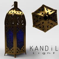 3D oil lamp candlestick