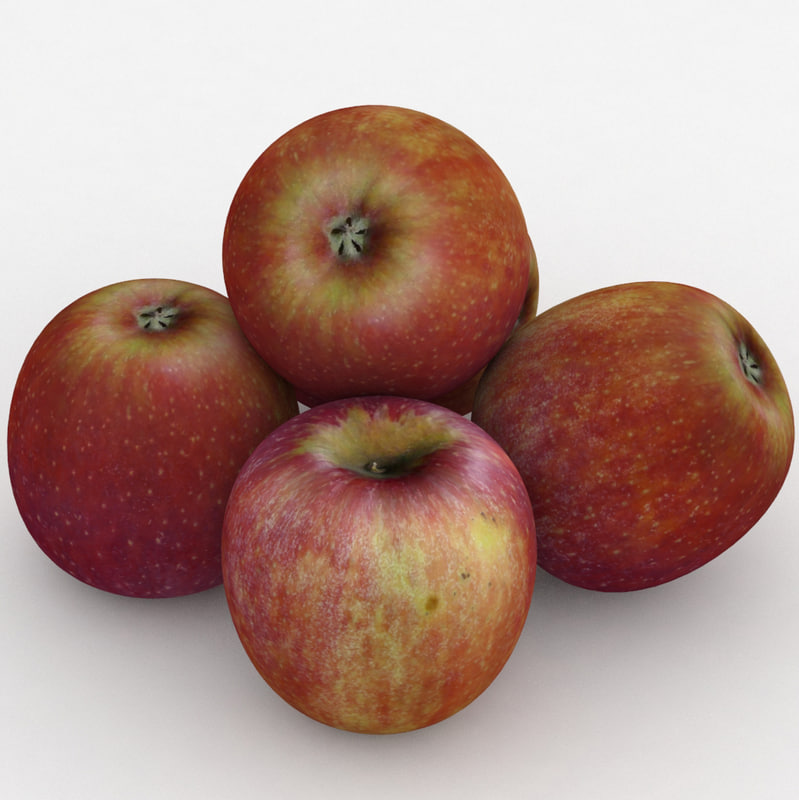 3D apple fruit red delicious model
