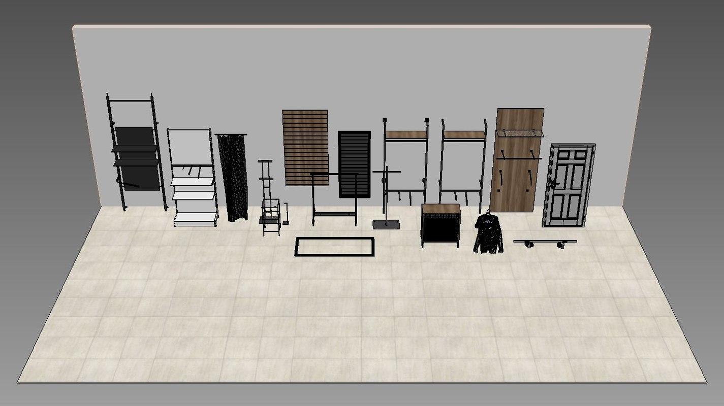 3D shop shelf big store model