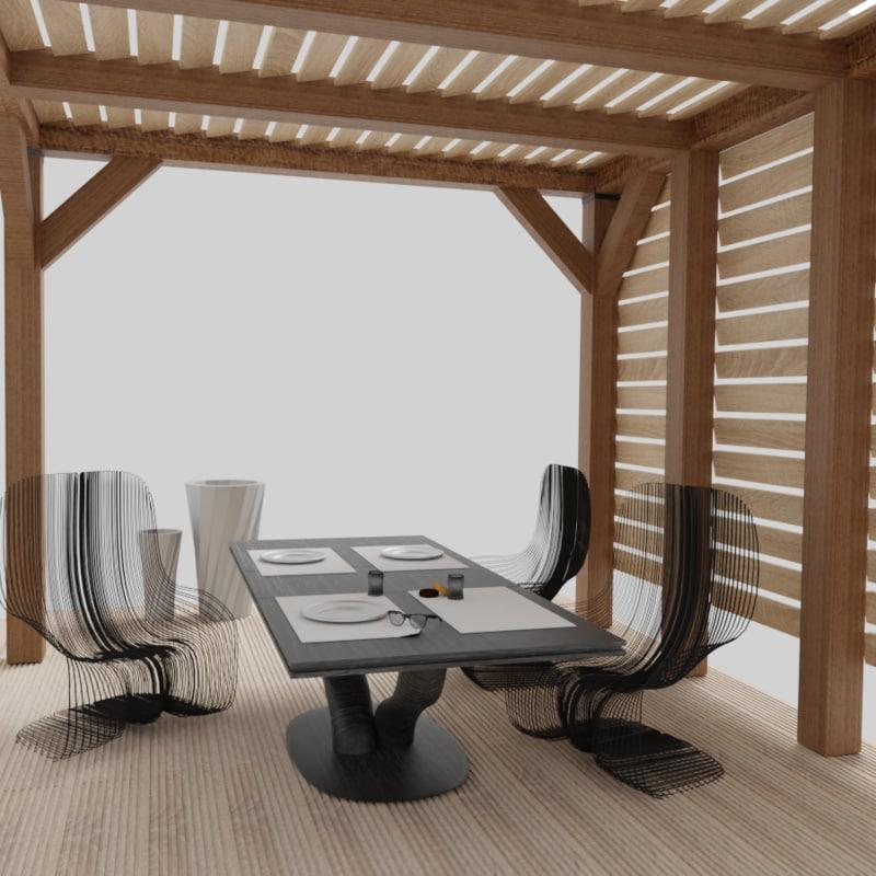 3D floor tile pergola model