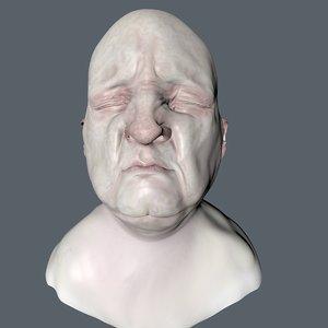 3D head painted polys model