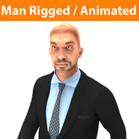 3D man rigged character animation model