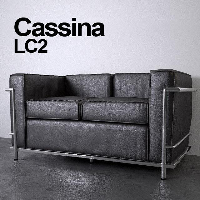 3D cassina le corbusier lc2 model
