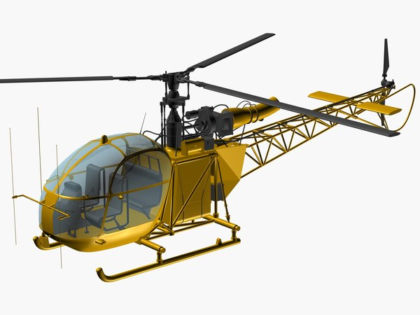 alouette utility helicopter 3D model