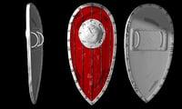 3D comic style shield model