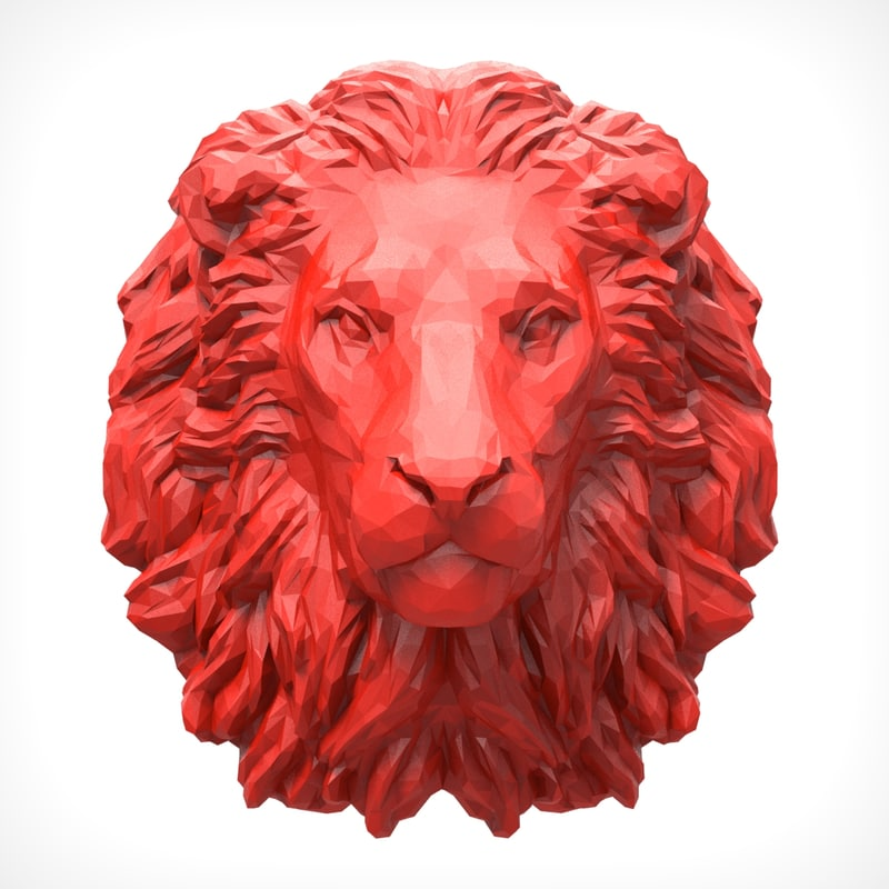 lion head polygonal 3D model