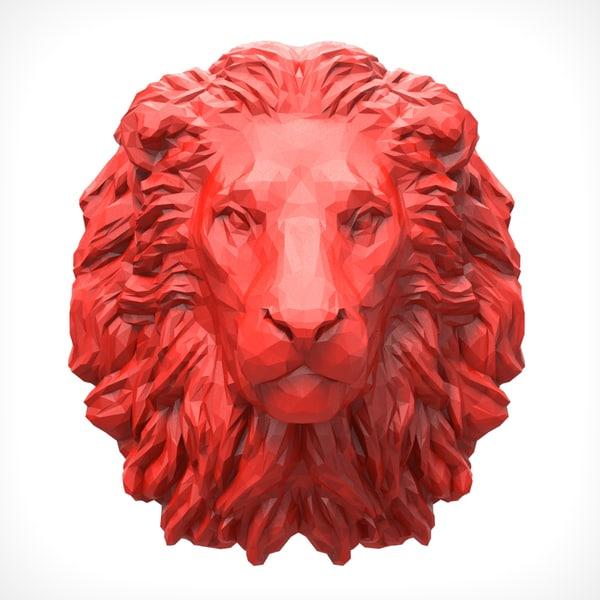 lion head polygonal 3D model