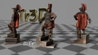 decorative medieval knight statue 3D model