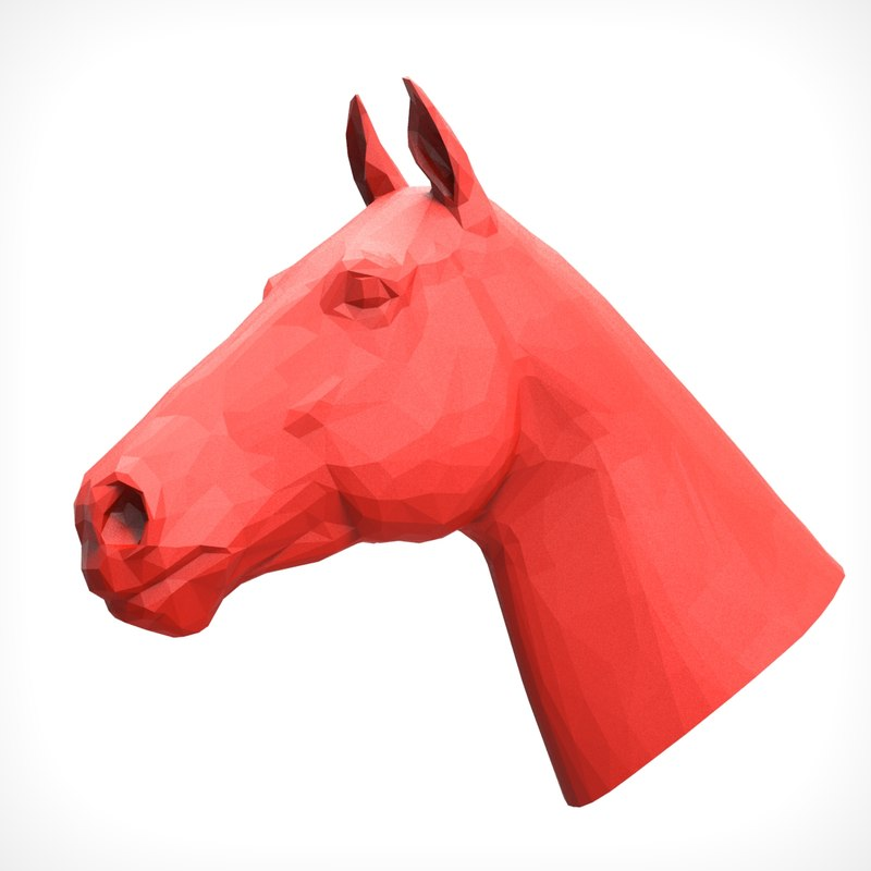 3D model horse head polygonal