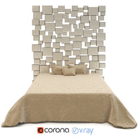 3D realistic bed squares headboard