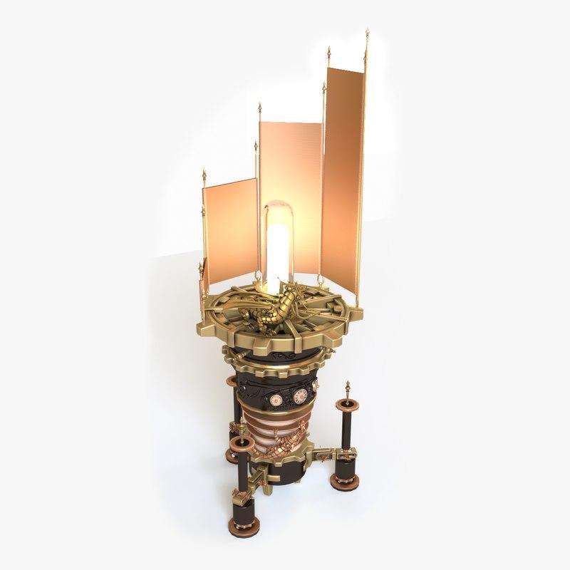 3D model steampunk lamp light interior