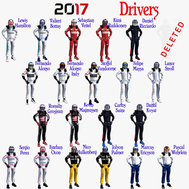 3D drivers formula 1