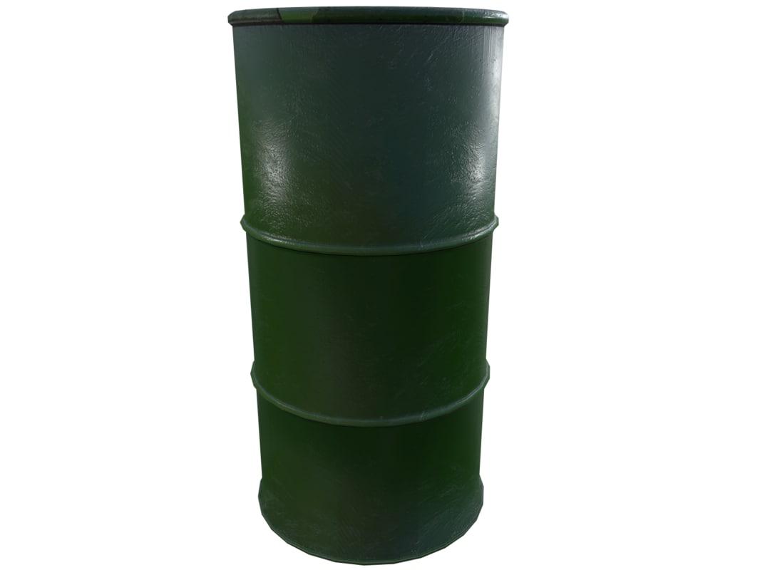 3D gameready gasoline barrel model