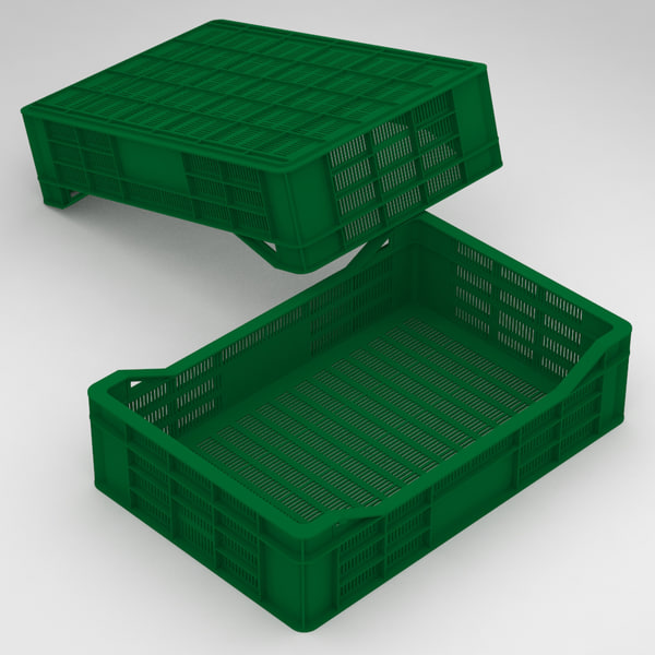 plastic crate 60x40x15cm fruits 3D model