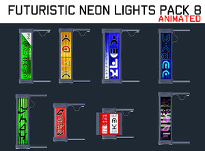 3D futuristic neon lights pack