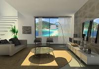 3D living room modern model