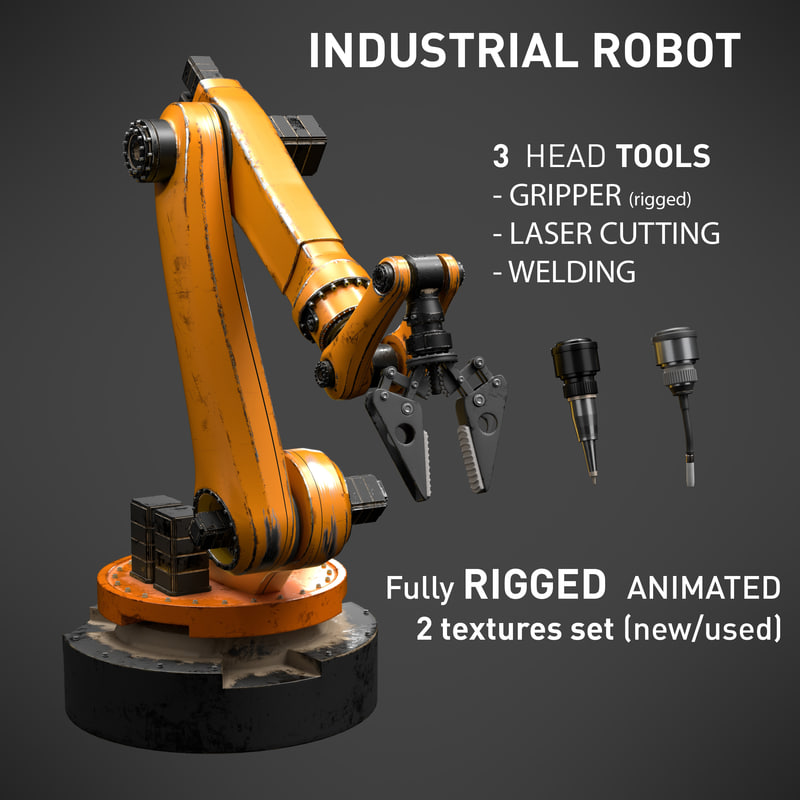 3D industrial robot 6 axes model
