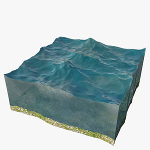 3D sliced piece ocean scene model
