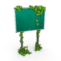 overgrown road sign 3D model