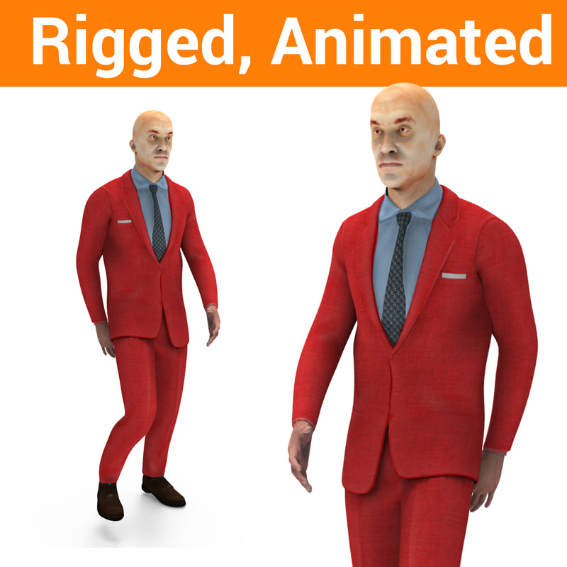 3D model man rigged character animation