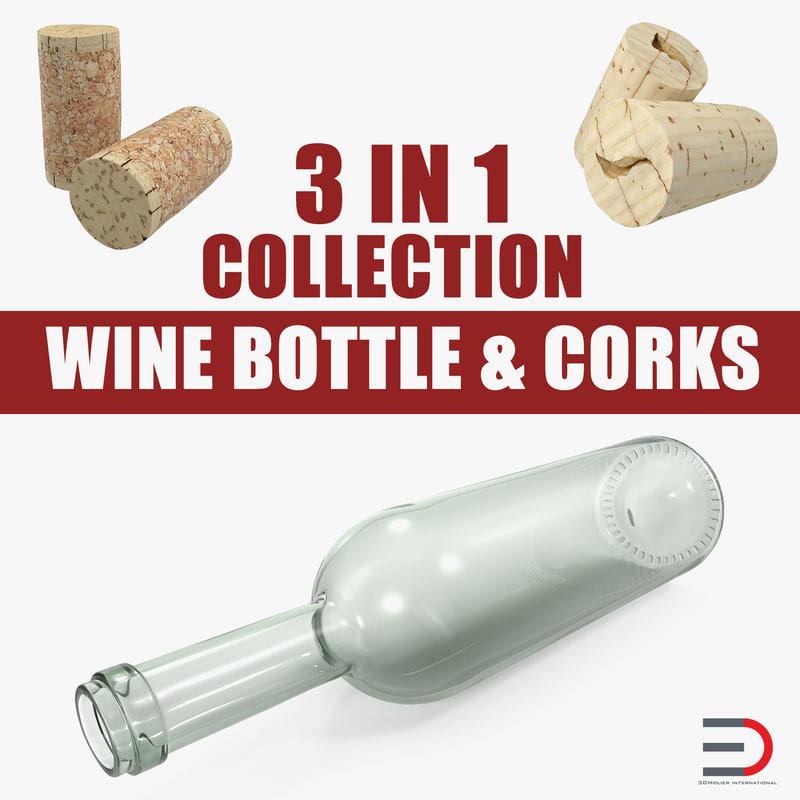 wine bottle corks 3D