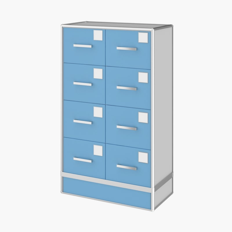 3D realistic medical archive cabinet