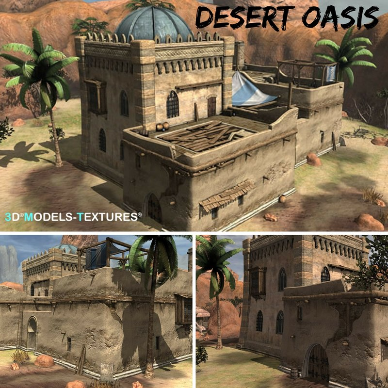 3D desert oasis