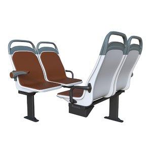 city comfort bus seats 3D model