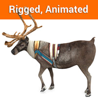 reindeer rigged deer animation 3D model