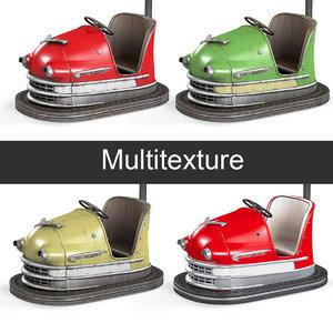 3D vintage bumper cars model