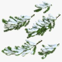 Christmas Fir Branches 03 Snow
