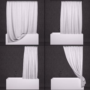 3D curtain bathtub model