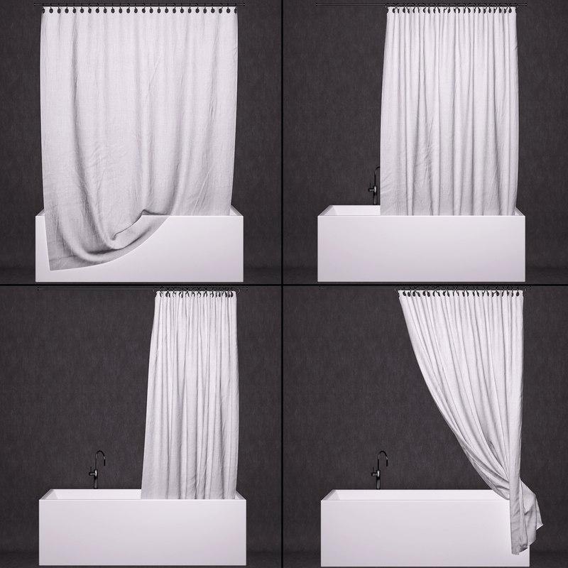 3D curtain bathtub model