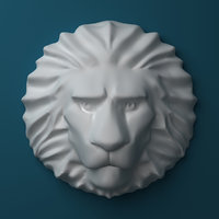 3D lion head sculpture