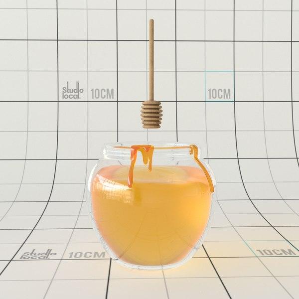 3D honey jar spoon model