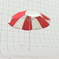 3D beach umbrella model