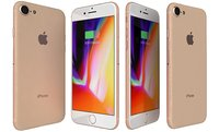 3D model apple iphone 8 gold