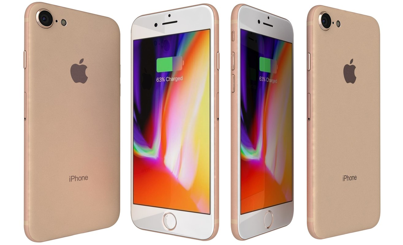 3D model apple iphone 8 gold