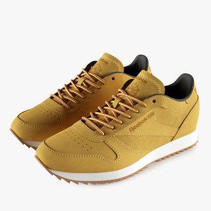 3D leather reebok classic shoes model