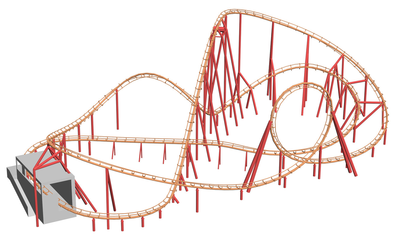 double loop coaster 3D