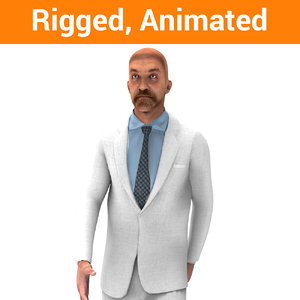 man rigged character animation model