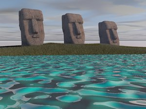 3D ancient easter island