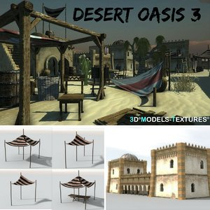 3D buildings 3 desert oasis