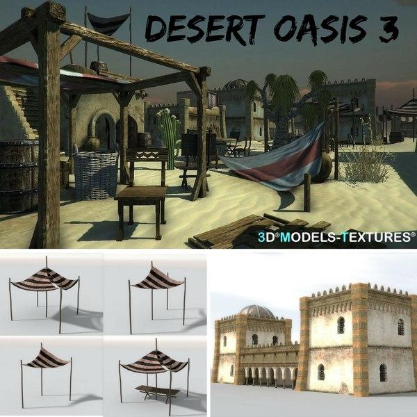 3D buildings 3 desert oasis